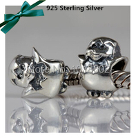 New Arrived 100 925 Sterling Silver Cute Chicken Charms Connectors For European Bracelet Necklace 1pc Lot