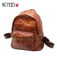 AETOO Shoulder Bag Female Cowhide Backpack Water Repellent New Retro Leather Backpack Wild Casual Korean Travel