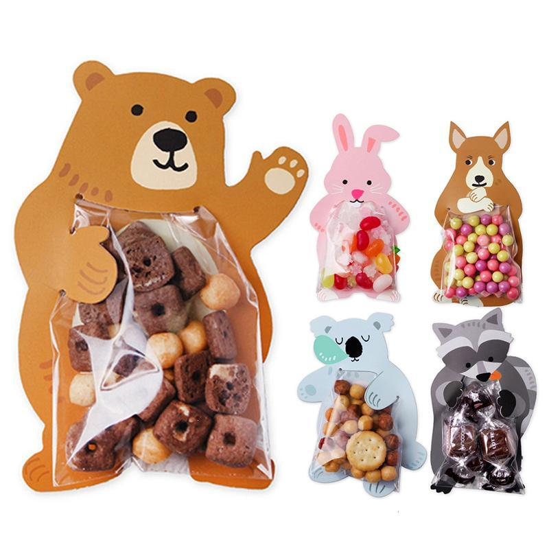 10Pcs Cartoon Animal Bear Rabbit Card Candy Packaging Transparent Plastic Bag Wedding Party Decor Kids Birthday Shower A40