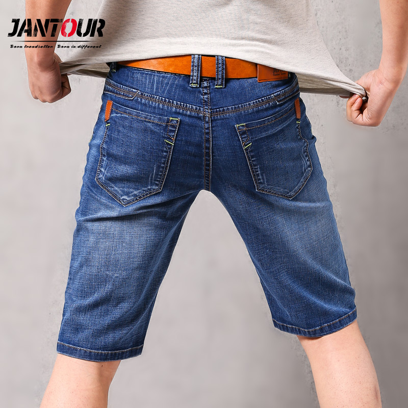 jantour Brand Mens 2018 Summer Stretch Thin quality Denim   Jeans   male Short Men blue Denim   Jean   Shorts Pants big Size 40 42 new