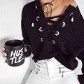 2016 новая мода женщины повседневная осень высокое качество черный воздушный отверстие кружева с длинными рукавами пуловеры толстовка moletom feminino