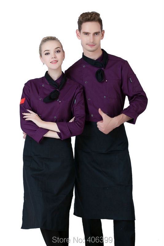 Hot Unisex Long Sleeve Cook Suit Restaurant Cook Work Wear Hotel Chef Uniforms Double-breasted Kitchen Chef Top Clothes YYX003