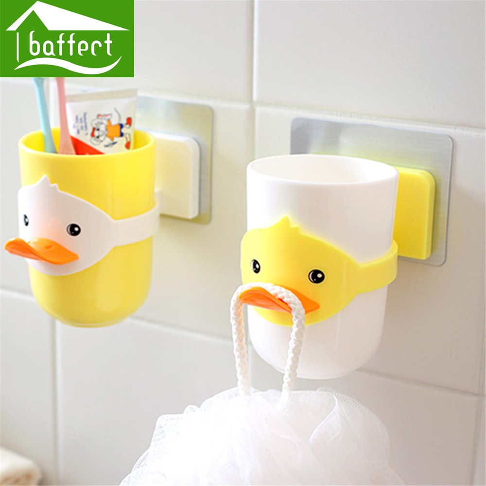 Rubber ducky bathroom accessories - Cute Duck Design Set Cartoon Toothbrush Holder With Brush Cup Wall Sucker For Repeat Paste