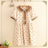 Japanese Sweet Bow Tie Print Dress Women Peter Pan Collar Short Sleeve Dress Cartoon Bear Print Ladies Dresses J031