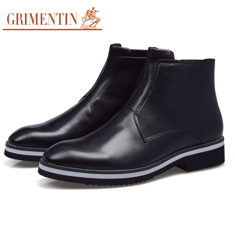 GRIMENTIN Hot Sale 2017 Genuine Leather Blue Luxury Men Boots  Brand Italian Fashion Black Mens Ankle Boots Designer Male Shoes grimentin fashion 2016 high top braid men casual shoes genuine leather designer luxury brand men shoe flats for leisure business