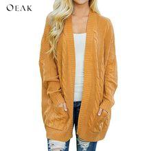 OEAK 2018 Knitted Sweater Cardigan Women Autumn Winter Yellow Solid Sweaters Girl Casual Pockets Warm Jumper Coat Plus Size
