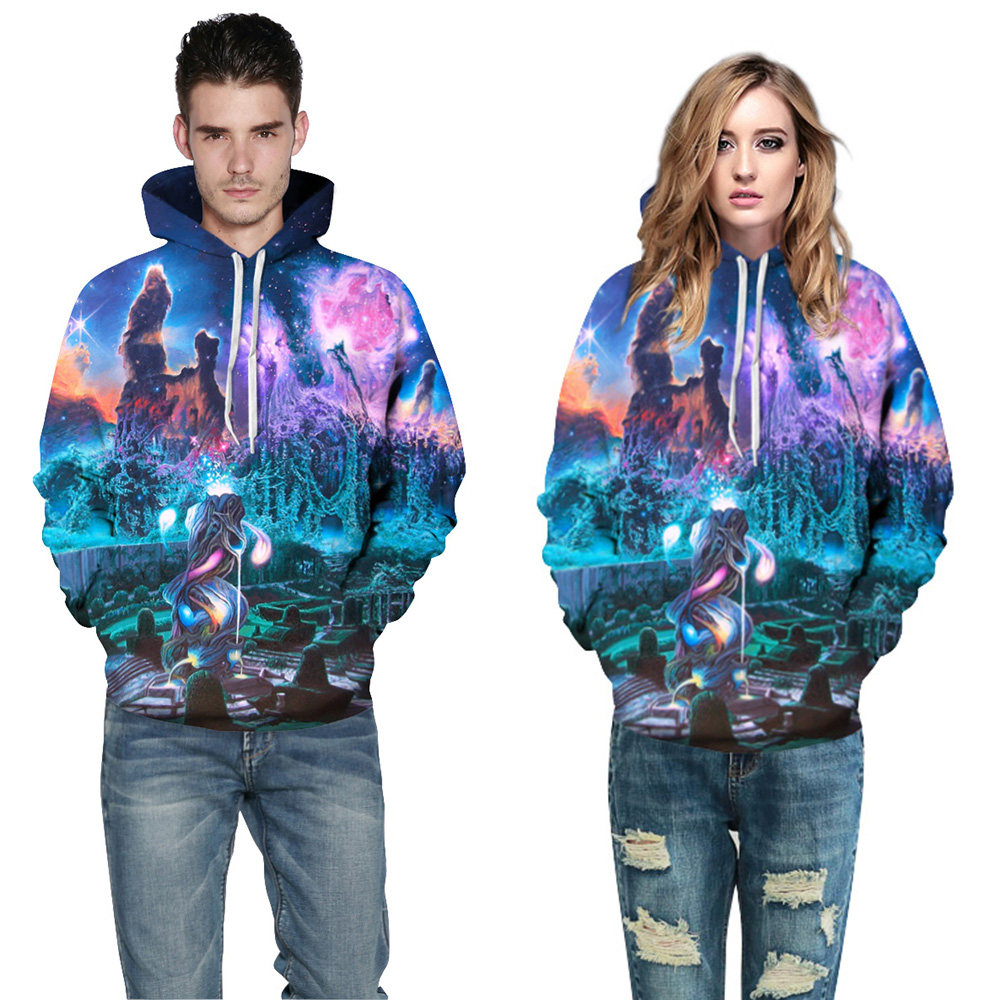 CFYH 2018 New Stylish Thin Sweatshirts Men/Women 3d Hoodies Digital Print Dreamy Cemetery Unisex Hooded Hoodies