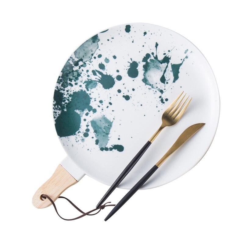 Nouveau plat rond créatif encre peinture nordique Western plaque en céramique plaque avec poignée Spaghetti plaque maison vaisselle Steak plat
