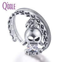 QGGLE 2017 NEW Silver Color Retro Double Layers Ring For Women High Quality Alloy Rhinestone Skeleton