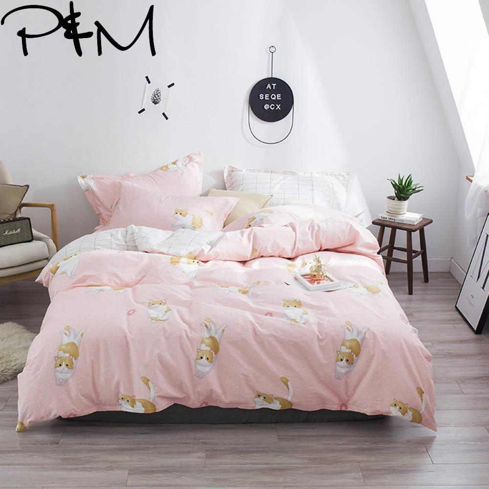 Papa&Mima Cute fat cat print Cartoon style bedding set Cotton bedlinens Twin Queen King size pillowcases duvet cover setsPapa&Mima Cute fat cat print Cartoon style bedding set Cotton bedlinens Twin Queen King size pillowcases duvet cover sets