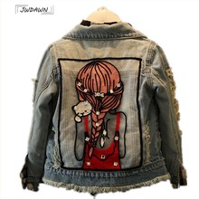 Spring New Girls Cartoon Denim Jackets for Boys Comfortable Teens Outerwear Fashion Girls Jeans Jackets Shining Coat Cowboy 4-12