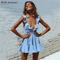 M H Artemis Backless Tie Up Ruffles Stripe Short Summer Dress Strap V Neck Ruffles Dress