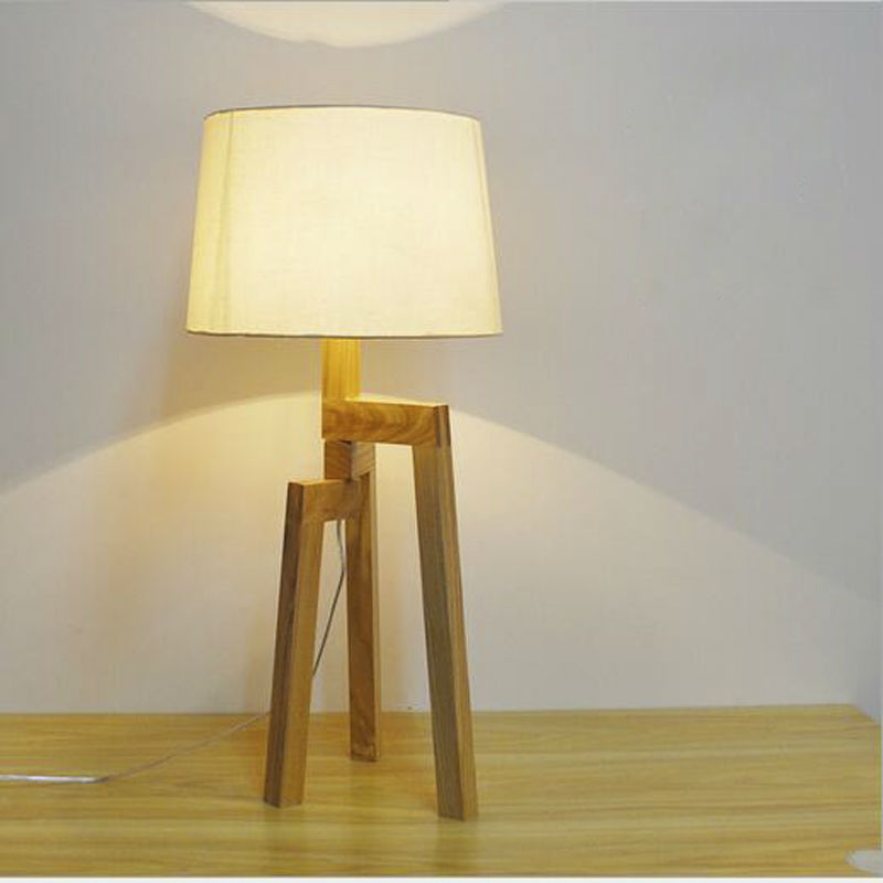 ФОТО High Quality Tripod Wood Table Lamp Fabric Lampshade E27 AC 90V-260V Original Wooden For Bedroom Living Room Wholesale/retail