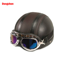 Dongzhen Leather Motorcycle Helmet Half Face Helmet ABS Detachable Visor Goggles Unisex Safety Brown Helmet Moto Accessories