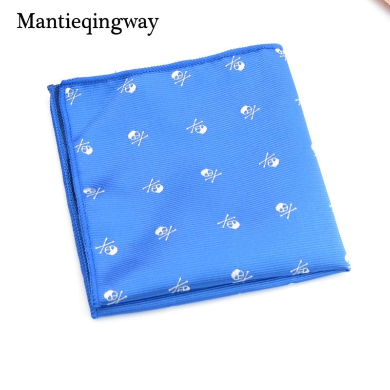 Handkerchiefs Polyester Skull Pattern Hanky Men's Formal Business Suit Pocket Square Handkerchief Wedding Hankies