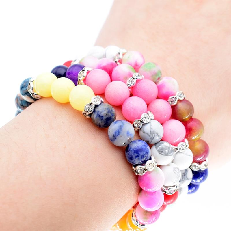 Färgglada pärlor chakra armband lavasten naturliga pärlor glans Bright RhineStone armband för kvinnor och män smycken Br164