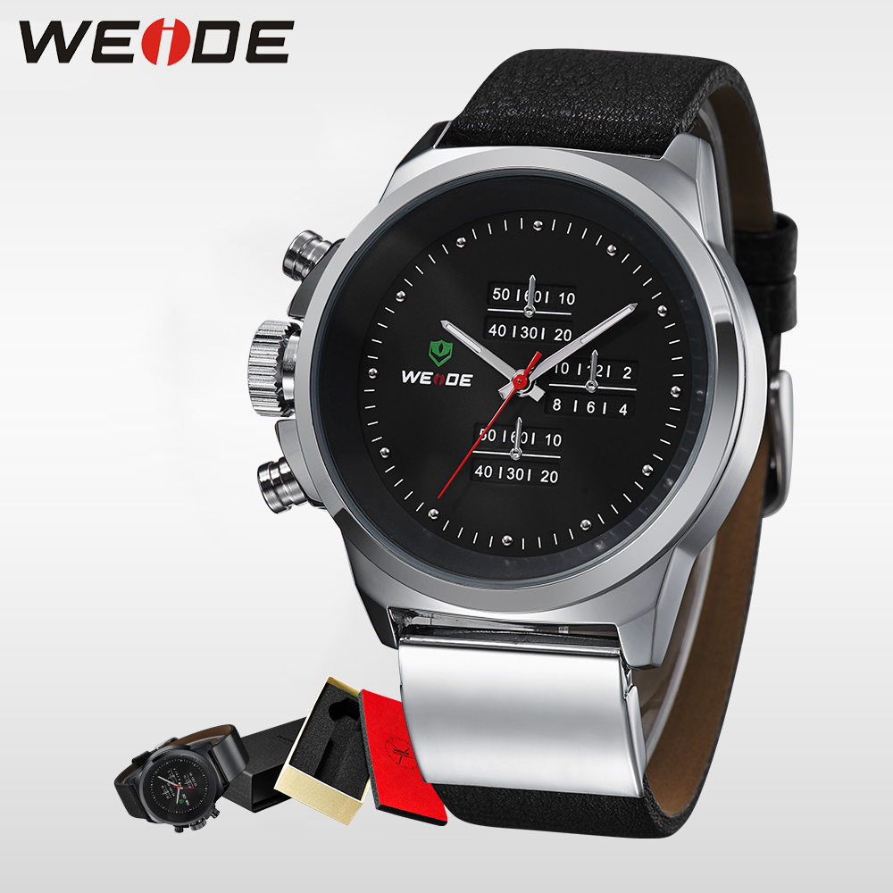 WEIDE Fashion Brand Luxury Analog Quartz Watches Men  Leather Strap Watch Sports  Military Army Waterproof Alarm Clock  WH3305 weide men sports watches waterproof military quartz digital watch alarm stopwatch dual time zones wristwatch relogios masculinos