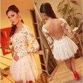 V Neck Lace Branco Curto Prom Vestido Com Mangas Compridas As Costas Abertas Sexy Adolescentes Vestido do Regresso A Casa Graduação Tamanho Personalizado