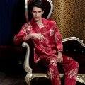 Мягкой Близко Кожи Эмуляции Шелковые Мужские Пижамы Устанавливает Полный Рукав Отложным Воротником Красный Пижамы Случайный Ночной Рубашке Бесплатная Доставка 520M1