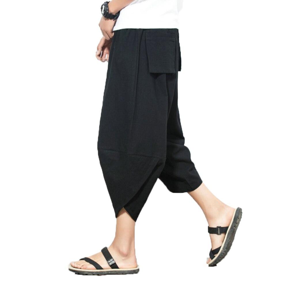 2018 Men Hip Hop Baggy Cross Pants Harem Pants Elastic Waist Calf-Lenght pants Mens Joggers Man Summer Thin Linen Trousers 5XL