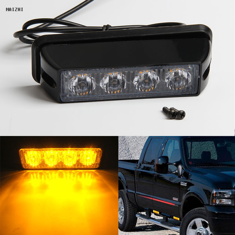 High Power 4 LED Car Emergency Beacon Warning Light Bar 12V/24V led Strobe Flash light Universal fit Hazard SUV Offroad Truck