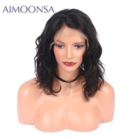 Brezilyalı Saç Dantel Ön İnsan Saç Dalgalı Bob Peruk Için siyah Kadın Doğal Renk Brezilyalı Remy Saç 150% Yoğunluk Ucuz peruk
