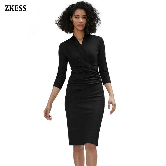 565357509ed Aliexpress.com   Buy Zkess Women New 3 4 Long Sleeve Pleated Dress Sexy V  Neck Bodycon Wrap Ruched Midi Little Black Dress Party Night Club LC610256  from ...