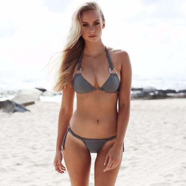 Placeholder Hot Swimsuit Bandage Cross Push Up Bikini Women New Sexy Beach Swimwear Metal Ring Bikini Set