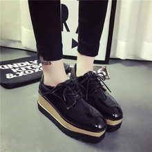 Fashion 2016 Oxfords Shoes for Women Lace Up Flat Platform Women's Oxfords Creepers Spring Autumn Casual Ladies Flats Shoes