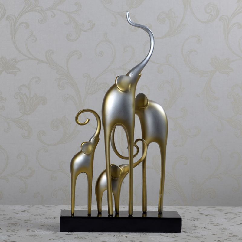 Modern Brief Drawing Room Study elephant sculptures resin 4 elephants figurine decoration crafts Creative abstract sculptures gold metal duvar saati