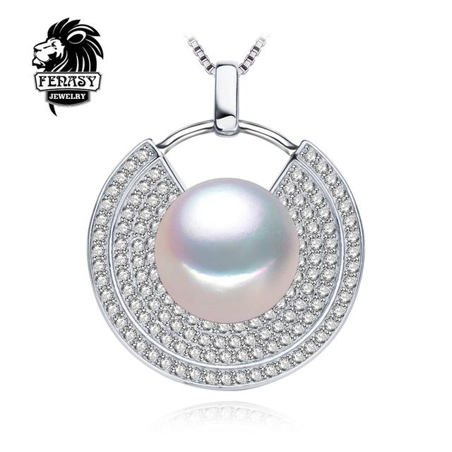 Fenasy joyería de perlas 10-11mm grande de moda colgantes de perlas naturales para las mujeres, geométrica 925 plata esterlina de la perla colgante de amor