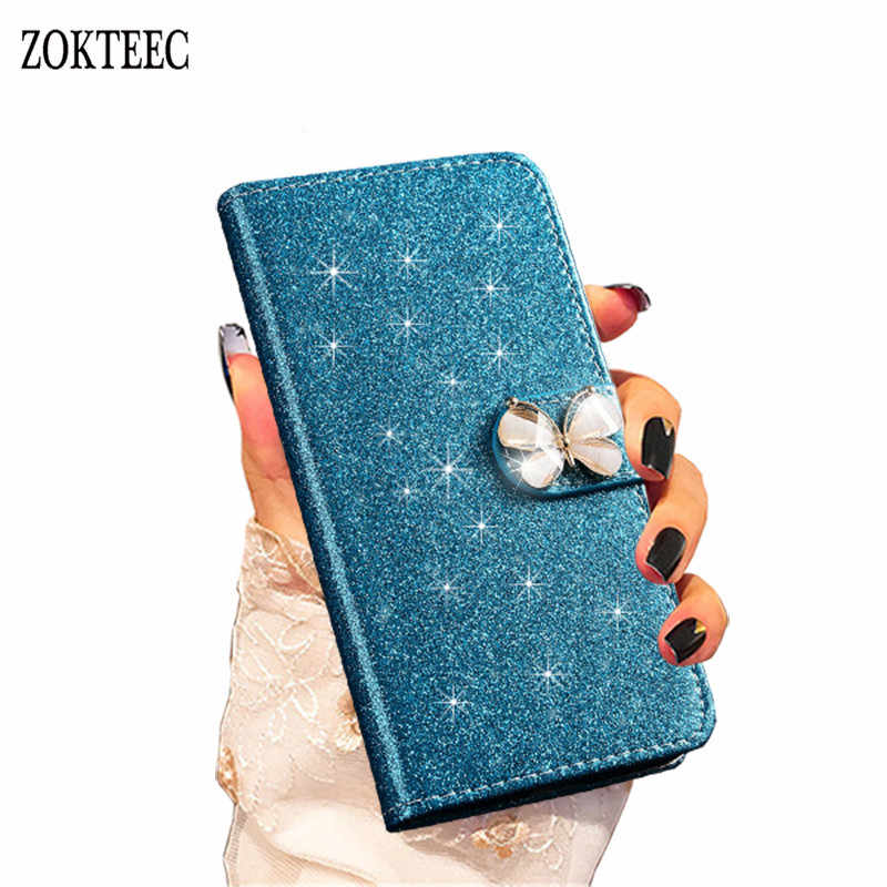 ZOKTEEC For Huawei Honor 7A 7A Pro Fashion Bling Diamond Glitter PU Flip Leather Case For Huawei Honor 8S 8C 8X 7X 7C Cover Case