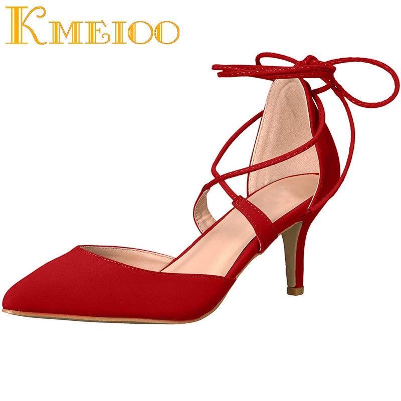 Kmeioo Femme NOUS 5-15Shoes Lacent Sandales Bout Pointu Med Talons Zapatos Mujer Été Sandales De Mariage Chaussures d'été femmes sandales