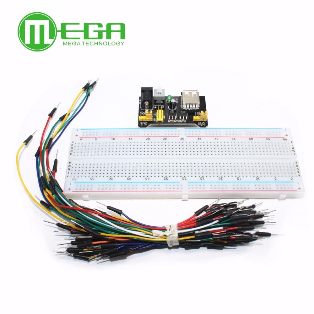3.3v/5v mb102 breadboard módulo de potência + MB-102 830 pontos solderless protótipo pão placa kit 65 fios jumper flexíveis