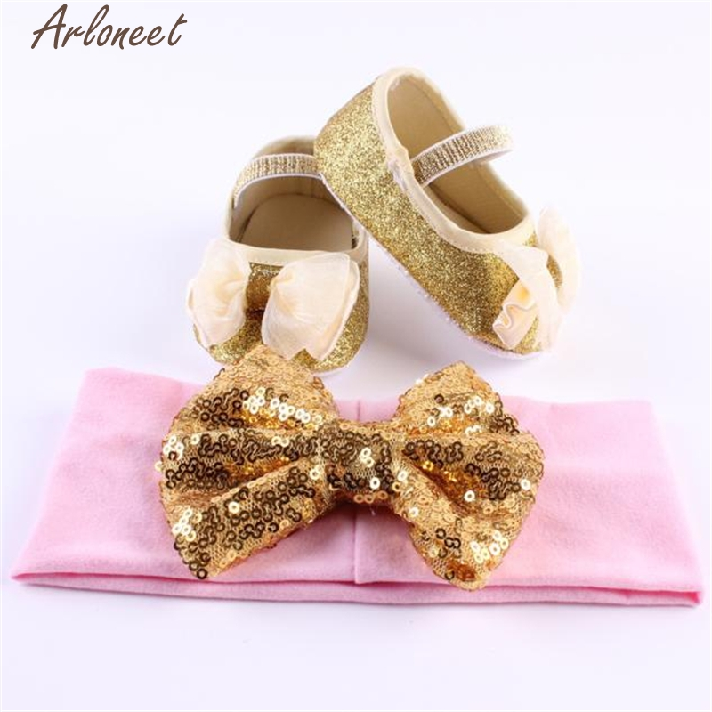 ARLONEET Baby Girl Flower Shoes Sneaker Anti-slip Hand Soft Toddler Shoes+1pc Hairband