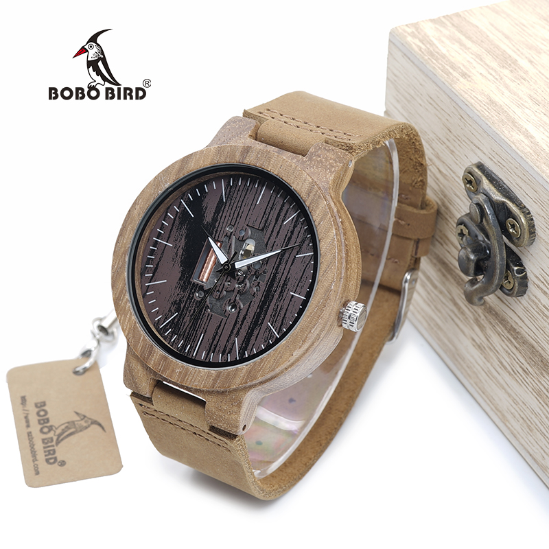 BOBO BIRD WH29 Mens Zebra Wood Watch Real Leather Band Cool Visible Quartz Wooden Watches for Men With Gift Box Dropshipping bobo bird e21 new arrival bamboo wood men watches with mental quartz watches real leather band janpanese movement in gift box