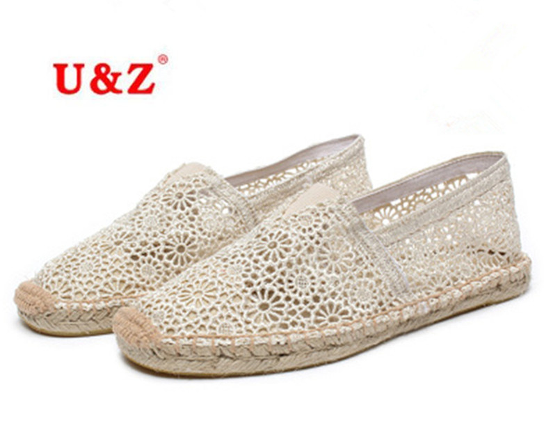 ФОТО 2016 Delicate Cut Out Lace Women Casual Shoes,Lace flowers pattern canvas Espadrilles Shoes,breathable summer spring flats shoes
