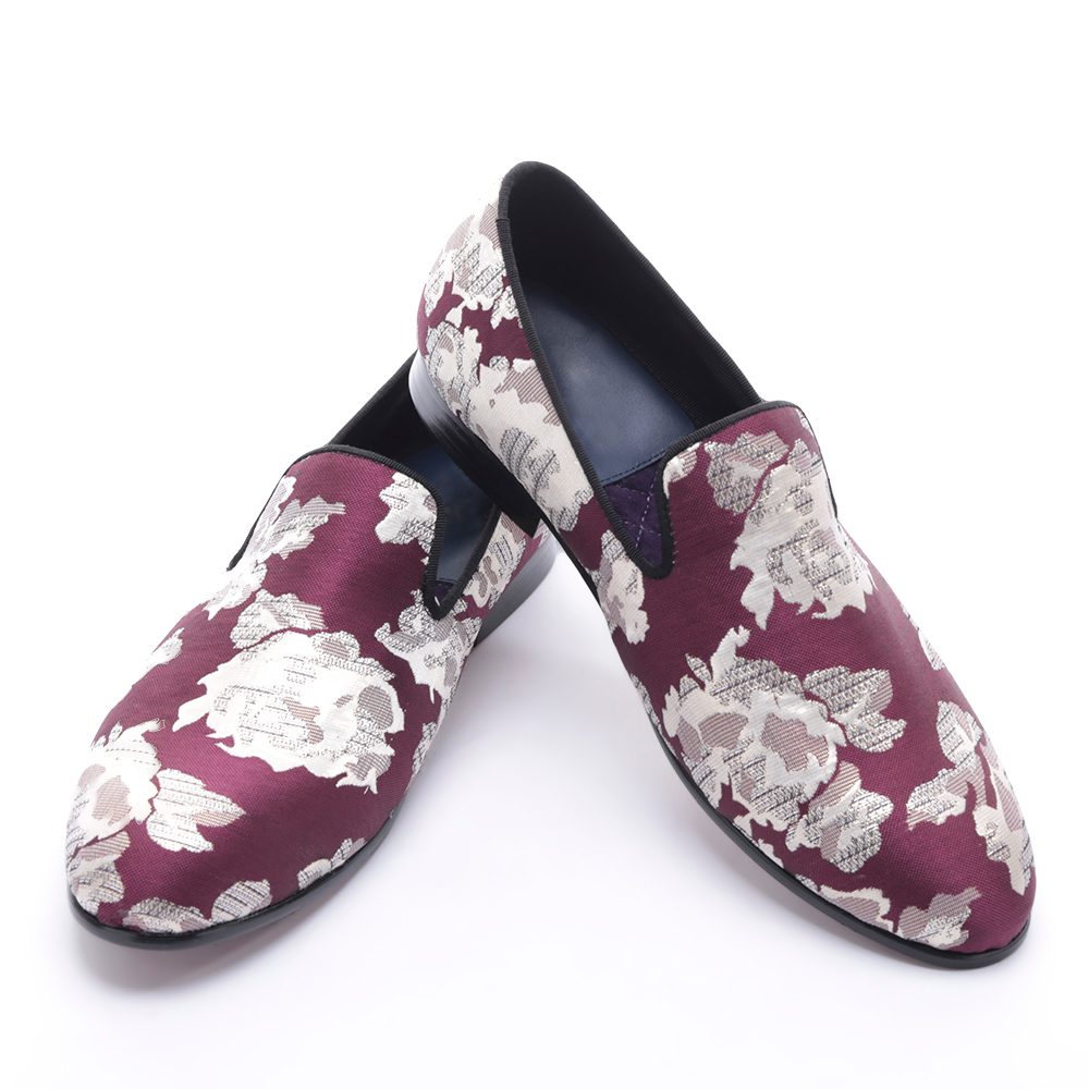 new arrival Purple jacquard fabric with White flowers handmade men loafers party and prom men dress shoes plus size men's flats new handmade men fashion party and