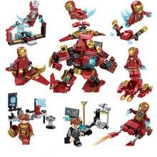 8pcs/lot Legoingly Super Hero Avengers Captain Marvel Ant Man Wasp Building Blocks Hulk Black Panther Toys For Children