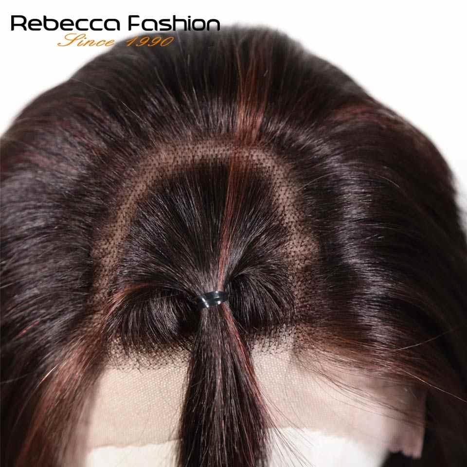 Rebeca peruano 4x4 pelucas de pelo humano frontal de encaje para mujeres Remy pelo corto recto Bob peluca rubia marrón 99J colores envío gratis