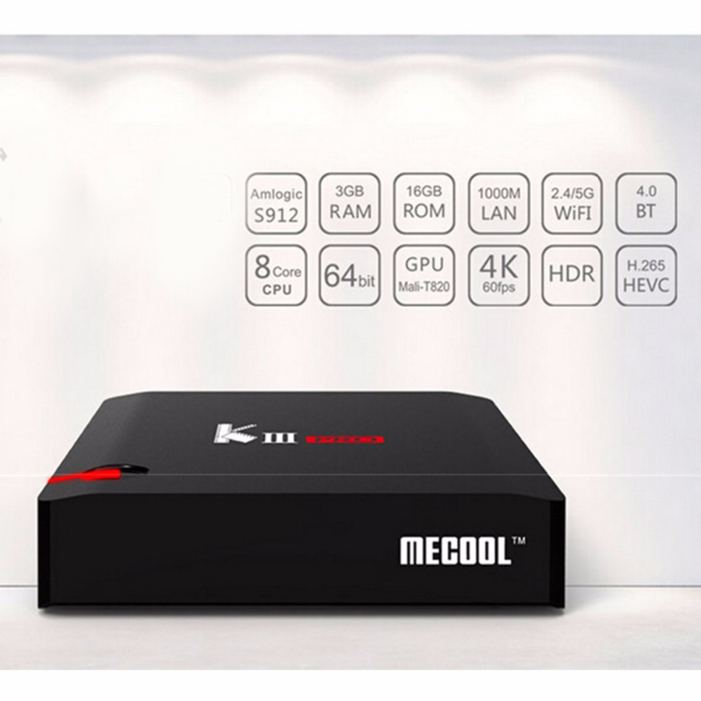 Mecool kiii Pro DVB S2 T2 Android6.0 smart TV Box Amlogic S912 BT 4.0 3GB/16GB 2.4G/5G Wifi TV Receivers set up box Media Player