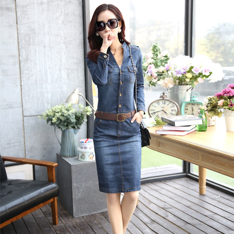 2017 New Autumn Fashion Women Denim Dresses Casual Blue Jeans Fall Hot Long Sleeve Straight Female One Piece Dress In From S