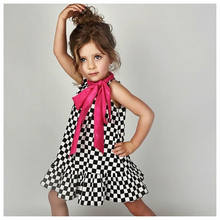 0-4T Toddler Kid Baby Girl Clothes Bowknot Plaid checkerboard Sleeveless Vestidos Party Pageant Beach Dress elegant Clothing(China)
