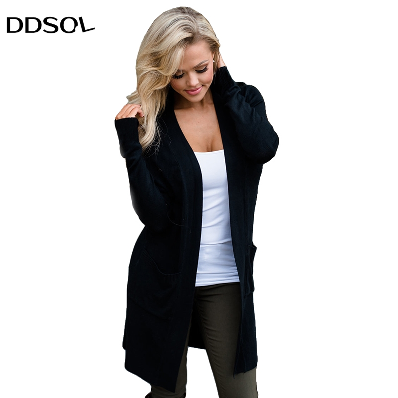 Sweater Long Cardigan Women Fashion Winter Black Long -5014