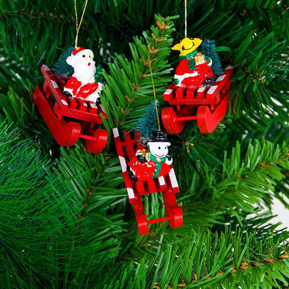 New Christmas Sleigh Pendant Christmas Tree Hanging Ornament Wooden Snowman Santa Elk Home Party Decorations 2pcs/set Diamond