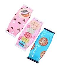 Kawaii Macaron Cookie Pencil Case Pu Leather School Pencil Bag For Girl Stationery Estojo Escolar School Supplies