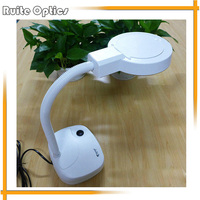 220V 3x 8x Desktop Magnifying Glass Lamp Magnifer With White Optical Glass Folding Stand For PCB
