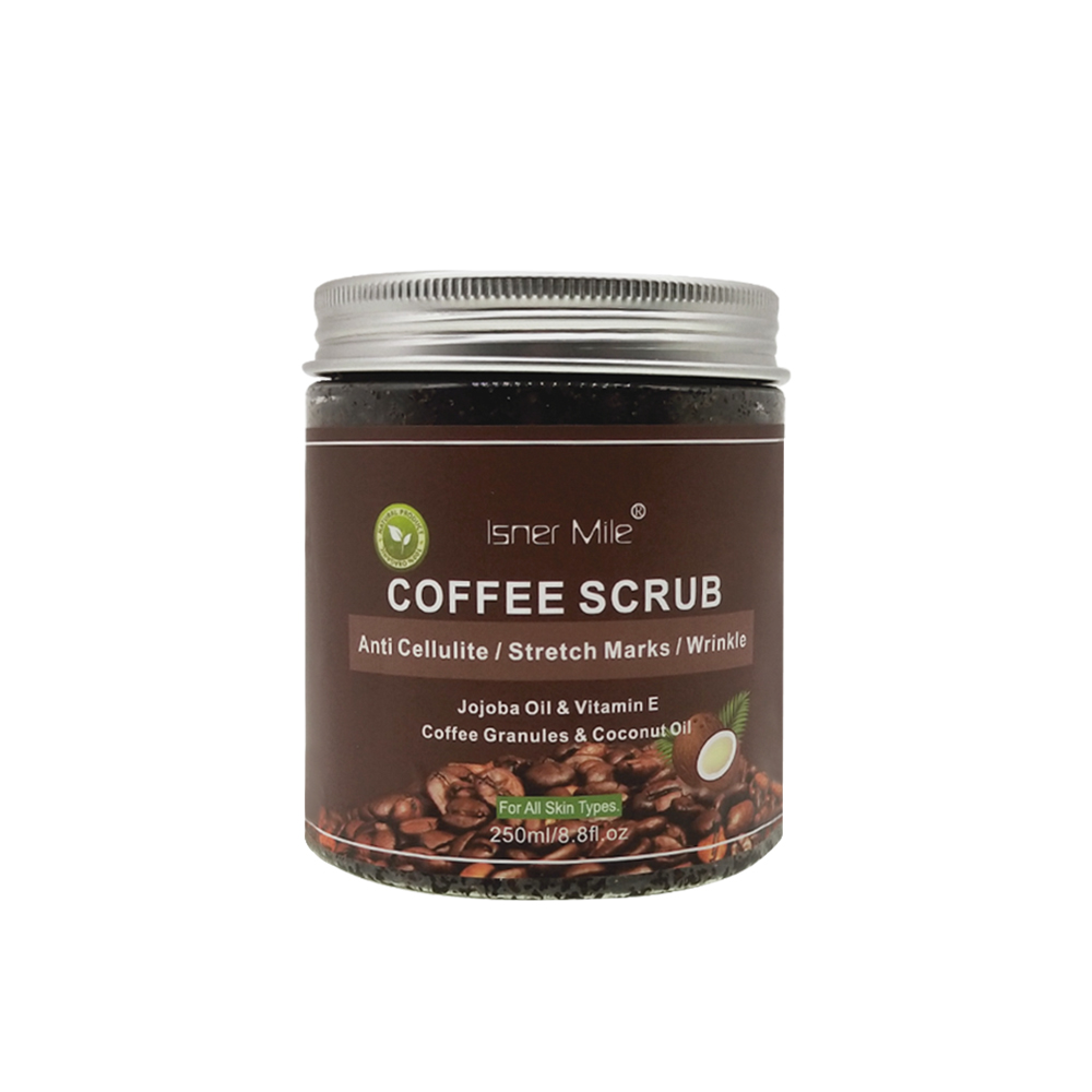 ISNER MILE Coffee Scrub 100% Natural Kaffee Scrub Powerful Exfoliating Coconut Oil Moisturizing Skin With Sea Salt Scrub 250ml