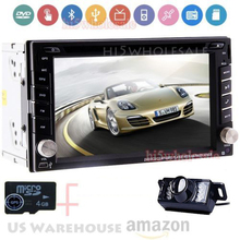 6.2inch Car headunit  Player GPS navigation Double 2DIN Car Stereo CD/DVD Player Bluetooth iPod Radio USB+Rear Camera+Free MAP
