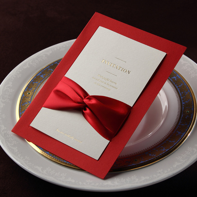 Luxurious Wedding Invitation Cards With RibbonFree Design Printing